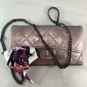 CHANEL Metallic Matelasse Leather Wallet on Chain